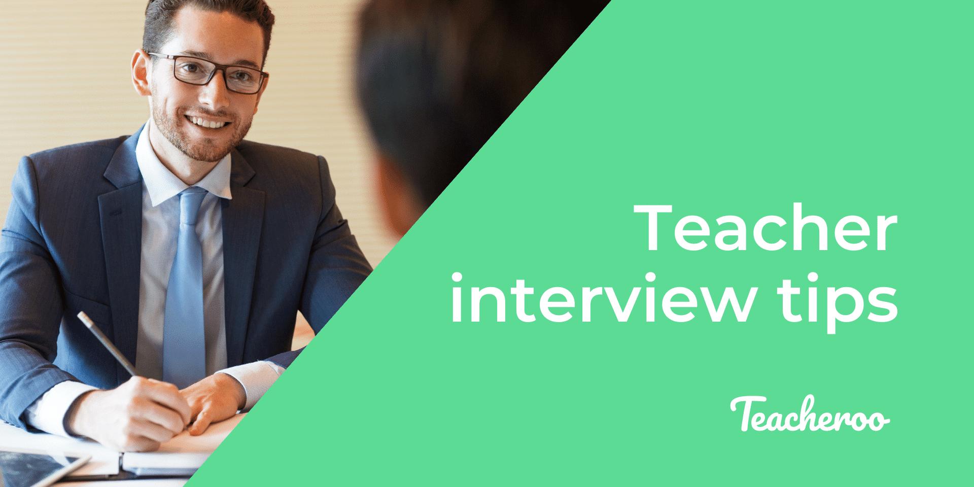 Man smiles in teacher interview setting