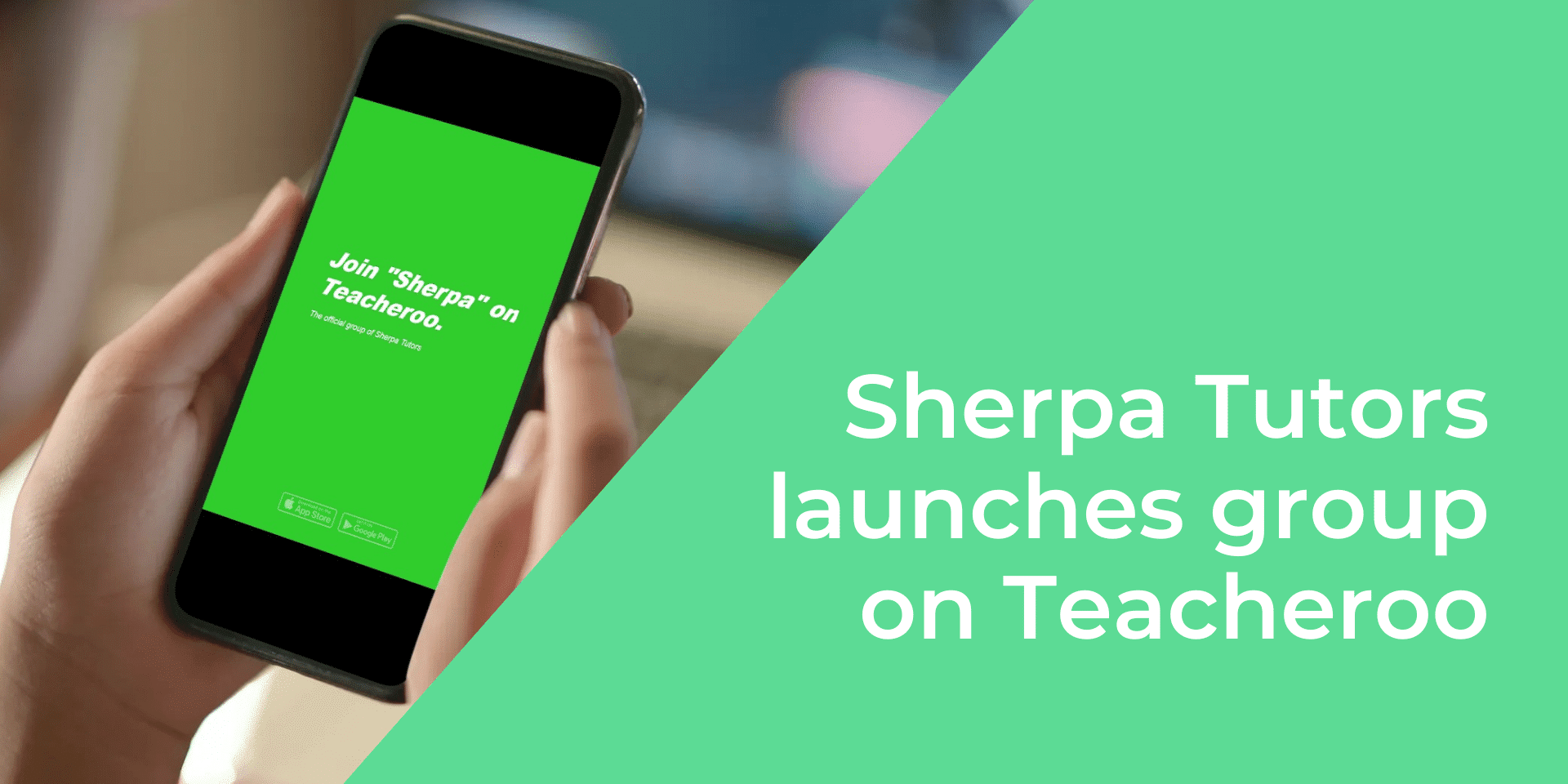 View of a mobile phone screen featuring Sherpa Tutors group on Teacheroo app