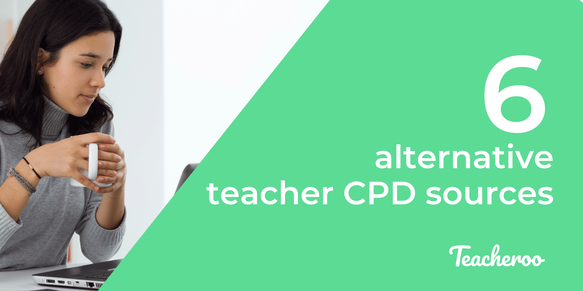 woman holds coffee and browses laptop showing alternative ways to access sources of teacher cpd